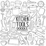 Symboler för klotter för kökhjälpmedel skissar traditionella handen - gjord designvektor vektor illustrationer