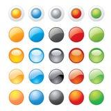 Symboler för knapp för vektorillustration glansiga glass för website Royaltyfri Bild