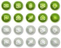 symboler för knappcirkel e postar serierengöringsduk Royaltyfri Bild