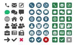 Symboler för kontaktvektor UI app stock illustrationer