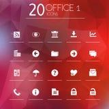 Symboler för kontor 1 på suddig bakgrund Royaltyfri Fotografi