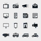 Symboler för kontur för vektoradvertizingmassmedia stock illustrationer