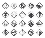 Symboler för konturaffärs- och kontorshjälpmedel Arkivbilder