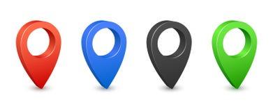 Symboler för läge 3d för stiftöversiktsställe Ben för färggps-översikt Ställeläge- och destinationstecken Navigeringstiftpekare royaltyfri illustrationer