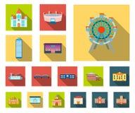 Symboler för lägenhet för byggnadsreparation i uppsättningsamlingen för design Byggnadsmaterial och hjälpmedelvektorsymbolet lage vektor illustrationer