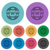 Symboler för lägenhet för färgwww jordklot Royaltyfria Foton
