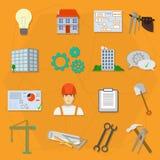 Symboler för lägenhet för byggmästarearbetarkonstruktion royaltyfri illustrationer