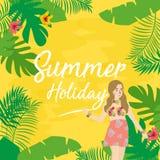 Symboler för lägenhet för sommarferie med bokstäver illustration av den bladblomman och flickan Arkivbild