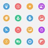 Symboler för lägenhet för kamerahjälpmedelvektor på färgsubstrateuppsättningen av 16 vektor illustrationer