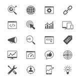 symboler för lägenhet för sökandemotoroptimization Royaltyfri Bild