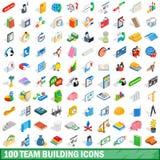 100 symboler för lagbyggnad ställde in, isometrisk stil 3d Royaltyfri Bild