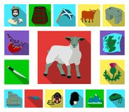 Symboler för landsSkottland lägenhet i uppsättningsamlingen för design Det sight-, kultur- och traditionsvektorsymbolet lagerför  stock illustrationer