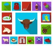 Symboler för landsSkottland lägenhet i uppsättningsamlingen för design Det sight-, kultur- och traditionsvektorsymbolet lagerför  vektor illustrationer