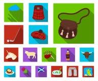 Symboler för landsSkottland lägenhet i uppsättningsamlingen för design Det sight-, kultur- och traditionsvektorsymbolet lagerför  royaltyfri illustrationer