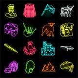 Symboler för landsSkottland neon i den fastställda samlingen för design Det sight-, kultur- och traditionsvektorsymbolet lagerför stock illustrationer
