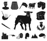 Symboler för landsSkottland svart i uppsättningsamlingen för design Det sight-, kultur- och traditionsvektorsymbolet lagerför ren vektor illustrationer