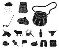 Symboler för landsSkottland svart i uppsättningsamlingen för design Det sight-, kultur- och traditionsvektorsymbolet lagerför ren stock illustrationer