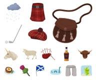 Symboler för landsSkottland tecknad film i uppsättningsamlingen för design Det sight-, kultur- och traditionsvektorsymbolet lager vektor illustrationer