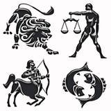 symboler för lion för horoskop för bågskyttjämviktsfisk Arkivfoto