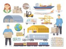 Symboler för logistikvektorlägenhet royaltyfri illustrationer