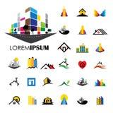 Symboler för logo för vektor för hem- och husbyggnadsarkitektur royaltyfri illustrationer