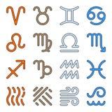 Symboler för luft för jord för brand för vatten för teckenzodiakbeståndsdelar stock illustrationer
