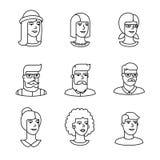 Symboler för mänskliga framsidor gör linjen konstuppsättning tunnare Arkivbild