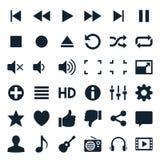 Symboler för massmediaspelare Arkivfoton
