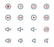 Symboler för massmediaspelare Royaltyfria Bilder
