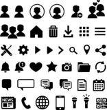 40 symboler för mobila applikationer Fotografering för Bildbyråer