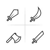 Symboler för modigt RPG- och MMORPG-vapen Fotografering för Bildbyråer