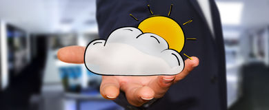 Symboler för moln och för sol för maninnehav hand drog Royaltyfri Fotografi