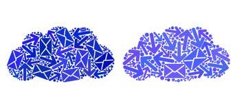 Symboler för moln för postvägar mosaiska royaltyfri illustrationer