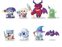 Symboler in för monster och för hjälte för tecken för fantasiRPG ställde modiga illustrationen vektor illustrationer