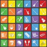 Symboler för musikinstrument Royaltyfri Bild