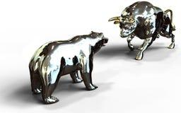 Symboler för nedgång för tjur- och björnaktiemarknadtillväxt Royaltyfri Foto