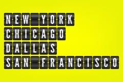 Symboler för New York-chicago Dallas San Francisco amerikanska stadsflip Vektorfunktionskortillustration Svartvitt flygplatstecke Fotografering för Bildbyråer