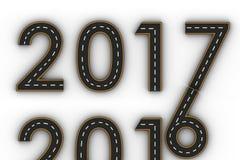 Symboler för nytt år 2017 av diagramen i form av en väg med den vita och gula linjen teckning Arkivbilder