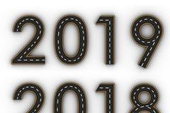 Symboler för nytt år 2019 av diagramen i form av en väg med den vita och gula linjen teckning Royaltyfri Foto