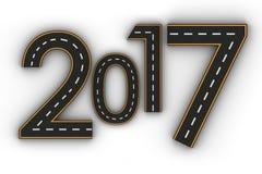Symboler för nytt år 2017 av diagramen i form av en väg med den vita och gula linjen teckning Royaltyfri Fotografi