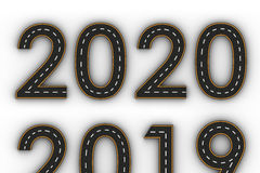 Symboler för nytt år 2020 av diagramen i form av en väg med den vita och gula linjen teckning Royaltyfri Foto
