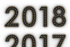 Symboler för nytt år 2018 av diagramen i form av en väg med den vita och gula linjen teckning Royaltyfria Foton