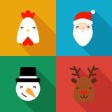 Symboler för nytt år för samling med en tupp, jultomten, snögubben och hjortar Plana beståndsdelar vektor illustrationer