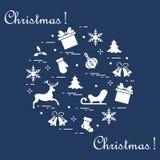 Symboler för nytt år som och julär ordnade i en cirkel Vinterelem Arkivbild