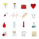 symboler för omsorgshälsoläkarundersökning Arkivfoton