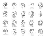 20 symboler för online- eller offline-diversehandel, shopping, bokningplatser och apps Logo för erbjudanden, kommers, svart freda Royaltyfri Bild