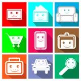 Symboler för online-lagret Arkivbild