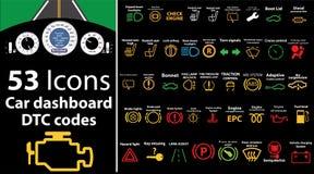 symboler för 53 packe - bilinstrumentbräda, dtckoder, felmeddelande, kontrollmotor, fel, instrumentbrädaillustration, gasnivå, stock illustrationer