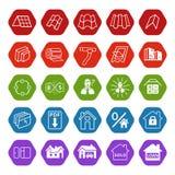 Symboler för plats för Sale byggnadsmaterial (tak, fasad) ställde in Royaltyfri Foto