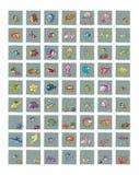 Symboler för platser med roliga fiskar och för krabbahummer för marin- djur bläckfisken och manet för clown fisken, klumpa ihop s Arkivbild